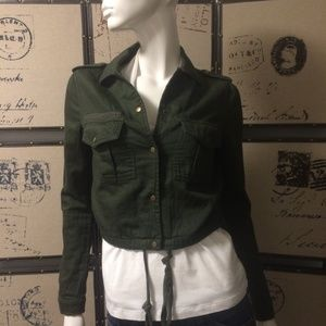 Forever 21 army green crop jacket